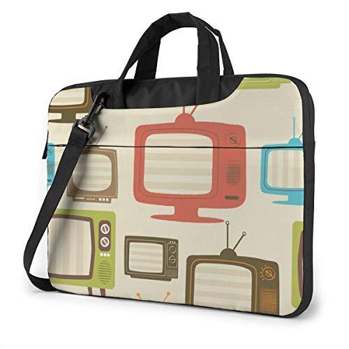 Bolsa para computadora portátil, TV Retro Ligera Bolsa de Hombro para computadora portátil con Correa y asa para computadora portátil de 13-15.6 Pulgadas