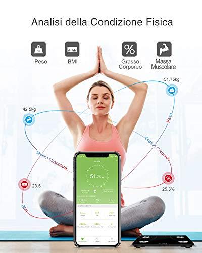 iTeknic Bilancia Impedenziometrica Bilancia Pesa Persona Digitale,Smart Bluetooth Diagnostica Misura 13 Dati Massa Magra e Grassa, Massa Muscolare, Grasso Viscerale, Grasso Sottocutaneo, BMI, BMR