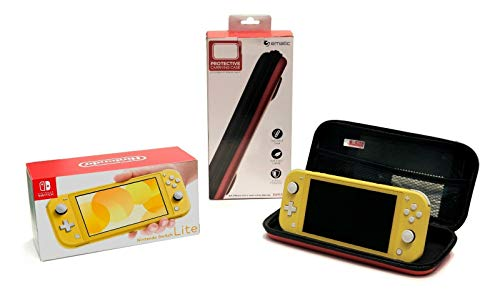 Nintendo Switch Lite, Yellow | bundled with Ematic Protective Case, 8-Game Cart Slot