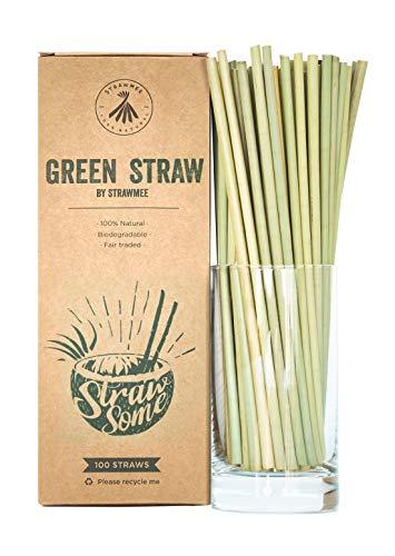 Strawmee Green Straws, Bio Strohhalme aus Lepironia-Gras, umweltfreundlich, kompostierbar, Einweg, Alternative zu Plastik, Bambus, PLA und Glastrinkhalmen (100 Stück)