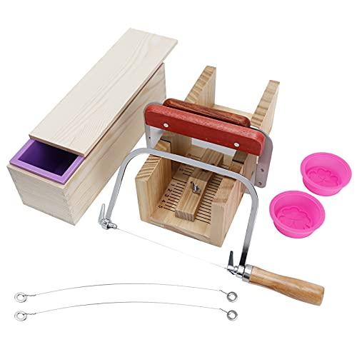 Cortador de pan de jabón de madera, kit de fabricación de jabón de 0,5-8 cm de grosor con familia para horno eléctrico, horno microondas, nevera para hacer jabón