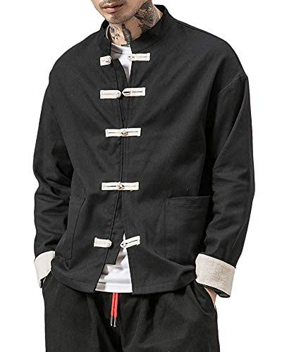 Yueyue Camicia Uomo Cotone Cinese Tradizionale in Lino E Tai Chi Kung Fu con Collo A Rana (Nero, M)