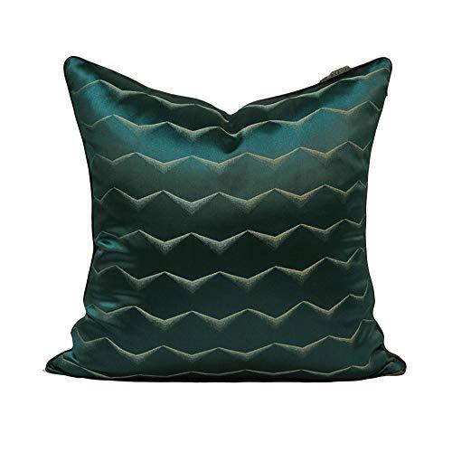 Sherwy Oreiller moderne de luxe léger oreillers modernes carrés vert foncé dos haute précision Jacquard coussin canapé-lit chaise modèle lombaire s'appuient sur le paquet for le cadeau de vacances, 45