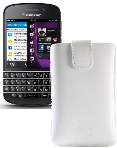 Original Favory ® Etui Tasche für / BlackBerry Q5 / Leder Etui Handytasche Ledertasche Schutzhülle Hülle Hülle *Lasche mit Rückzugfunktion* In Weiss