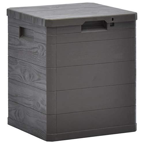 Nishore Auflagenbox Klein Gartenbox Wasserdicht Kunststoff Abschließbar Kissenbox Aufbewahrungsbox Garten Gartentruhe Werkzeugkasten für Indoor und Outdoor, 90 L Braun 42,5x44x50 cm