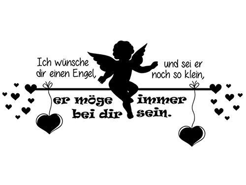 Wandtattoo-bilder® Wandtattoo Ich wünsche dir einen Engel Nr 2 Kinderzimmer Babyzimmer Wanddeko Wandsticker Wandaufkleber Farbe Schwarz, Größe 60x26