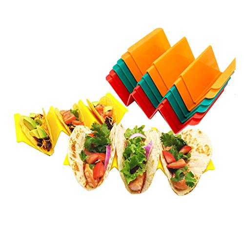 8 Colorful PP Plastic Taco Holders with Free Recipe Idea Booklet, Premium Tray Plates Holds Up to 3 Tacos Each (Eight Pack)