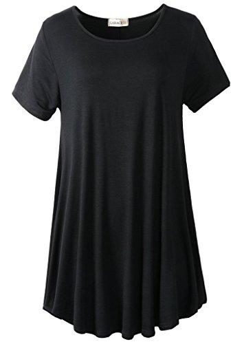 LARACE Women Short Sleeves Flare Tunic Tops for Leggings Flowy Shirt (L, Black)