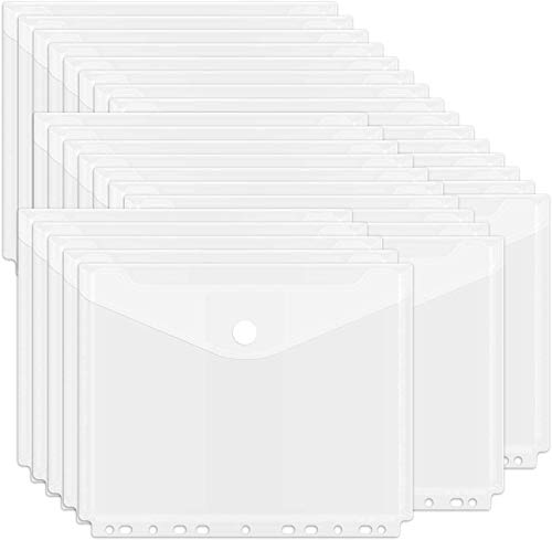 Yolistar Cartelline Trasparenti, Cartelline in plastica con Fori A4, Portadocumenti Cartelle Per Documento Storage 24 pezzi con Bottone per Scuola e Ufficio(La dimensione interna è inferiore ad A4)