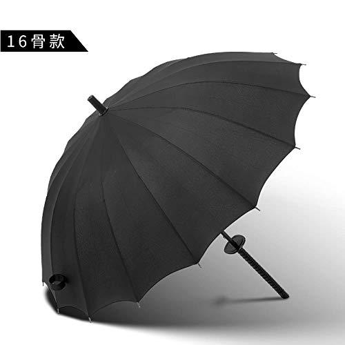 AJIAO Regenschirm Sun Rain Windproof Regenschirm Ninja Straight Shank Long Handle 8 oder 16 oder 24 Rib Stick Herren Business Regenschirm,16K