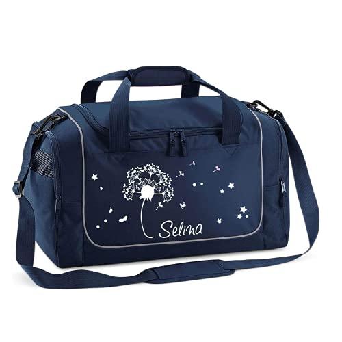Mein Zwergenland Sporttasche Kinder personalisierbar 38L, Kindersporttasche mit Name und Pusteblume Bedruckt in French Navy Blau
