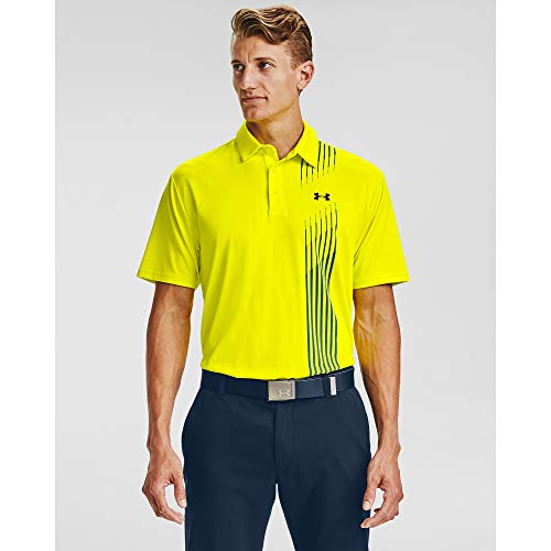Under Armour Polo de Golf Playoff 2.0 para Hombre, Hombre, Polo, 1327037, Amarillo Rayo (705)/Grafito Azul, S