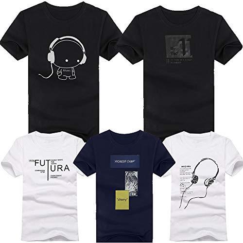 Tシャツメンズ 半袖 綿100% 5枚組 シャツ 下着 インナーシャツ 肌着 夏服 軽い 柔らかい シルエット おしゃれ ファッション 人気 快適 (ミックスカラー, XXL)