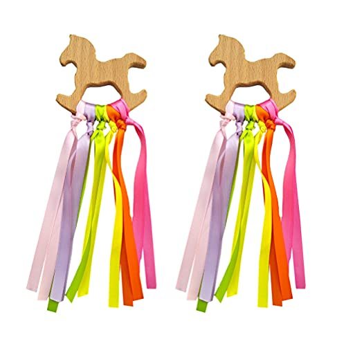 2 anillos de cinta de madera natural arco iris Waldorf juguetes bebé mordedor bebé recién nacido juguete sensorial lazo molar círculo de madera