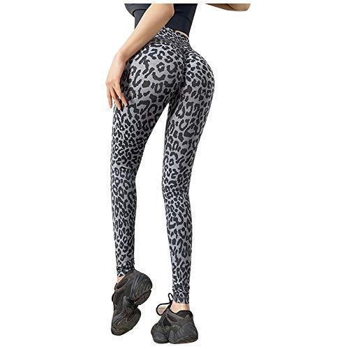 Pudyor Pantalones Mujer de Yoga Mallas de Estampado de Tigre/Leopardo Leggings Push up de Cintura Alta Pantalón Deportivos Transpirables Elásticos Leggins de Yoga para Correr Gym Fitness