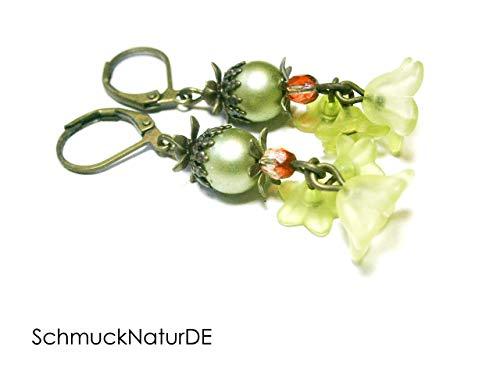 Ohrringe Perlen Blüten grün Schmuck Vintage Boho