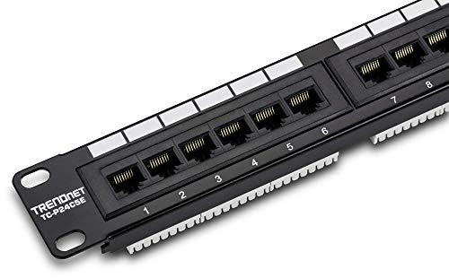 TRENDnet 24-Port Cat5-5e RJ-45 UTP Unshielded Patch Panel, Wallmount or Rackmount, 100Mhz, Color-Coded Labeling, Cat5,Cat5e,Cat4,Cat3 Compatible, 1U Rackmount, Black, TC-P24C5E