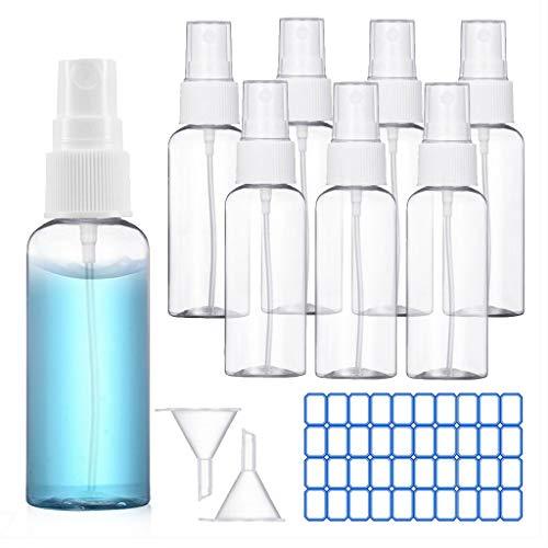 O-Kinee Transparente Sprühflasche, Leer Parfümzerstäuber Zerstäuber Flaschen Kosmetik Sprayflaschen,Tragbares Reiseflaschen Set mit 2 x Trichter und 1 x Etikett (8 * 100ml)