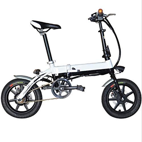 Elektrische fiets, 14 inch, lichte vouwfiets, 250 W, uniseks, vouwfiets, met led-voorlicht, lithium-ion-accu, oplaadtijd: 3-5 uur (25 km/h) Het rijvermogen bedraagt ca. 25 kilometer.