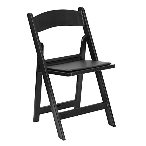 Flash Furniture HERCULES Series 1000 lb. Capacity Black Resin Folding Chair with Black Vinyl Padded Seat