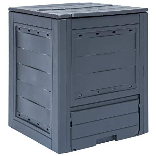mewmewcat Gartenkomposter Kompostbehälter Komposter Thermokomposter Grau Kunststoff 60 x 60 x 73 cm 260 L - und witterungsbeständig