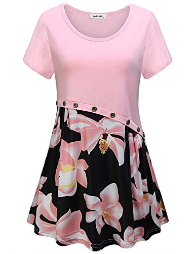 AxByCzD Womens Boutique Tops Summer,Girls Ladies Cute Short Sleeve Tunic Vintage O Neck Shirts Female Modest Floral Flowy Blouses Country Nice Casual Tshirt Juniors Loose Fitted Prime Clothes Pink L 08 Womens Pink T-shirt