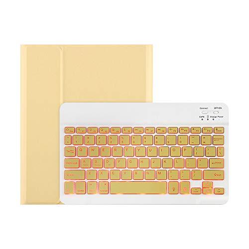 Estojo do teclado, Baugger Capa de teclado com luz de fundo destacável de 7 cores BT3.0 slot para caneta de teclado compatível com Pro 11 (2018/2020) amarelo
