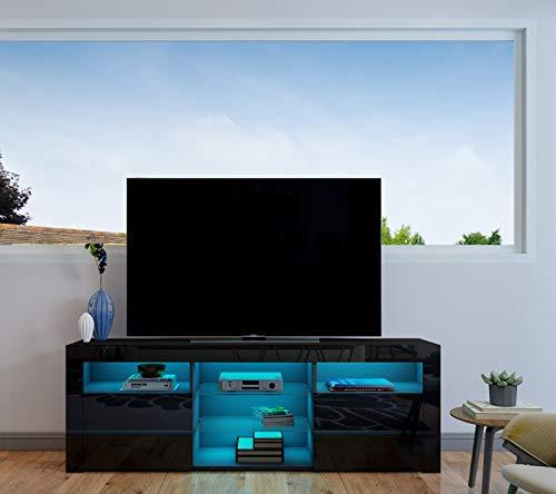 UNDRANDED TV Lowboard Fernsehschrank 2 Türen Hochglanz Front Fernsehtisch Sideboard mit LED Beleuchtung 160 x 35 x 60 cm (Schwarz)