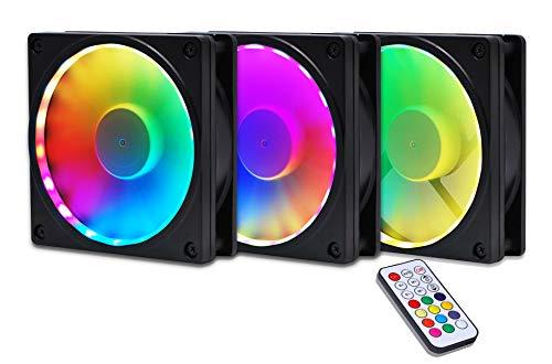 EZDIY-FAB Bastidor de Ventilador RGB con Montaje de Ventilador RGB direccionable de 120 mm con Controlador (Compatible con ASUS Aura Sync, GIGABYTE RGB Fusion y MSI Mystic Light Sync)-3pack