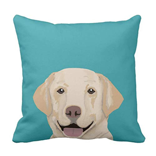 gatetop Throw Pillow Cover Jaune Labrador Doux Lab Housewares Taie d'oreiller décoratif Décor À La Maison Carré 18x18 Pouce Taie d'oreiller