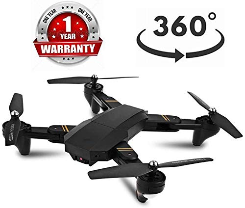 ZGYQGOO Drone Mini, 360 degrés repliement, mosans tête, Objectif Grand-Angle Grand-Angle à Gyroscope 6 Axes, Maintien l'altitude, Quadricoptère, caméra Grand Angle, caméra WiFi WiFi HD, Gyro, Noir