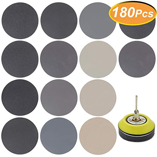 Best Price 180 PCS 3 Inch Sandpaper, GOH DODD Wet Dry Sander Sheets with Backing Pad and Soft Foam B...