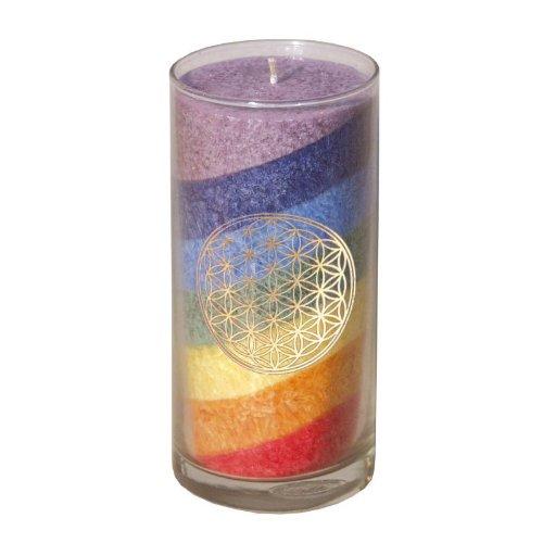Kerze im mittleren Glas - Regenbogen Chakrakerze mit Blume des Lebens