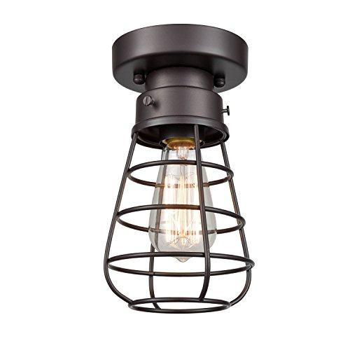 DANXU - Lámpara de techo de estilo retro industrial con diseño de jaula de bronce aceitado