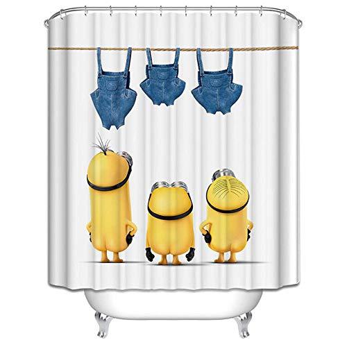Gelbe DuschvorhäNge Mischievous Minions Series DuschvorhäNge Badvorhang Polyester Wasserdichter Badvorhang Grinch-B90xh180cm