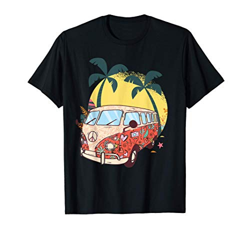 Hippie Bus Van Retro 60er Jahre Hippiebus Kostüm Outfit T-Shirt