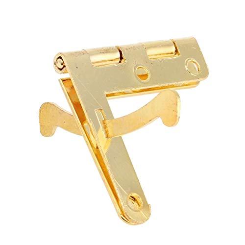 FKSDHDG 50pcs 90 ° Soporte de ángulo Bisagras de caja pequeña Bisagra para joyería vino caso reloj tapa de madera Cuña tapón de puerta (oro)