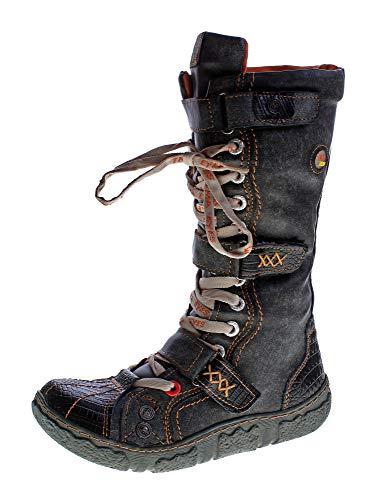 Damen Leder Winter Comfort Stiefel gefüttert echt Leder Schuhe TMA 7086 Neu Schwarz-Grau Gr. 37