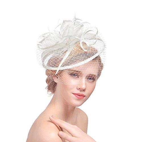 Tüll Fascinator Hüte mit Feder Blumen Haar Clip Haarreif Haar Accessoire Schleier Tea Party Hochzeit Kirche,Weißer Haarschmuck Kopfschmuck Kopfbedeckung für Frauen