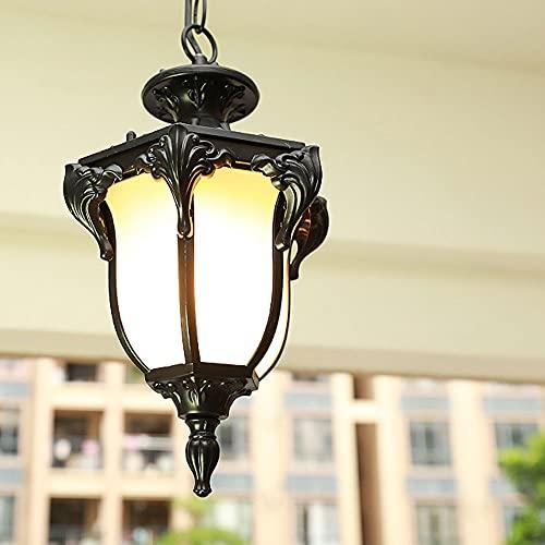 JIANAND Linterna para exteriores Lámpara colgante Lámpara colgante de techo impermeable externa E27 Lámpara colgante de montaje semi empotrado Lámpara de vidrio de metal Lámpara de jardín Porche...