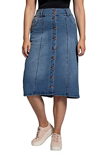 Ulla Popken Damen große Größen Übergrößen Plus Size Jeansrock Blue Denim 48 781521902-48