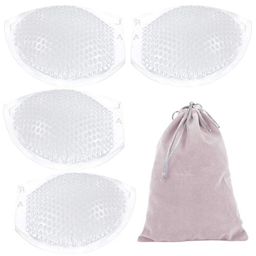 2 Pairs Breathable Honeycomb Silicone Bra Inserts- Nonslip Thickened Perforated Breast Chest Enhancer Lightweight Push up Booster Pads for Women Bikini Swimsuits Sports Bra
