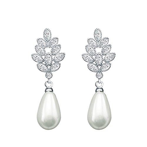 QUKE Silber-Ton Zirkonia Kristall künstliche Perle Hochzeit Braut Ohrhänger hängend Ohrringe Modeschmuck