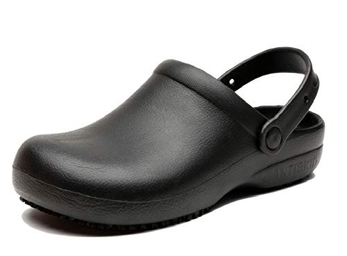 INiceslipper Unisex Anti-Slip Chef Clog Oil Water Resistant Work Shoes Flats, Black, 8 Women/7 Men