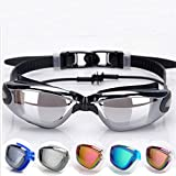 GRILONG Stainless Steel Anti-Fog UV Protection Sport Swimming Goggles with Earplug Waterproof, Plating