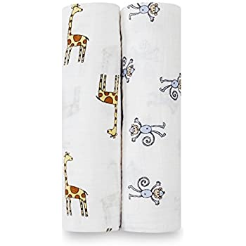 aden + anais Swaddle Blanket, Boutique Muslin Blankets for Girls & Boys, Baby Receiving Swaddles, Ideal Newborn & Infant Swaddling Set, Perfect Shower Gifts, 2 Pack, Jungle Jam