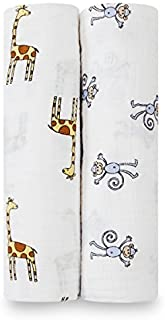 Aden and Anais Jungle Jam Monkey/Giraffe Swaddles, Multicolour, 2 Count