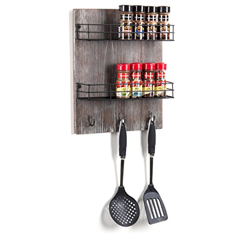 MyGift Wall-Mounted Rustic Torched Wood 2-Tier Spice Rack...