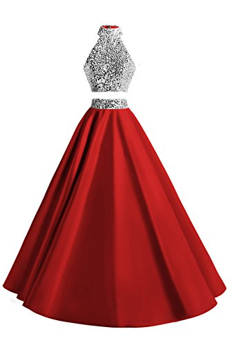 MsJune Women Two Piece Prom Dress Beaded Long Party Gowns Evening Dresses Red 8 (Apparel)