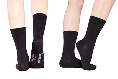lampox Bambussocken (6x Paar) Atmungsaktiv Socken Business Sport Laufen Reduziert Schweiß(47-50, Schwarz)